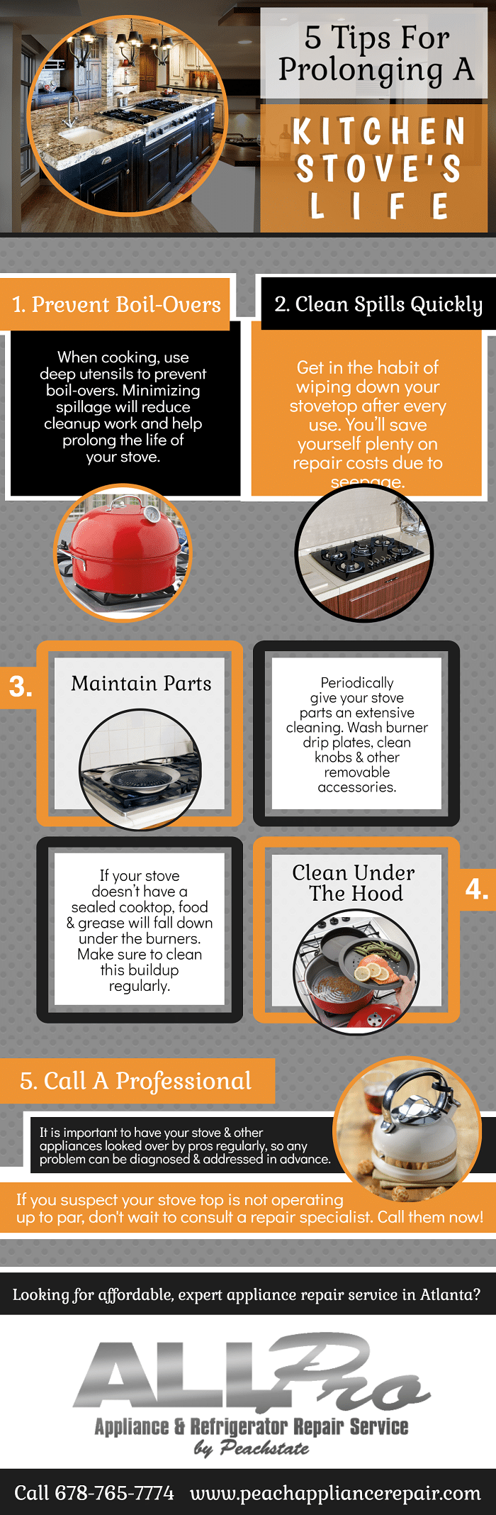 5 Tips For Prolonging a Kitchen Stove's Life infographic